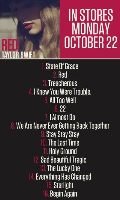 Taylor Swift Reveals Official Track List For Upcoming Red Album Kristen Maldonado