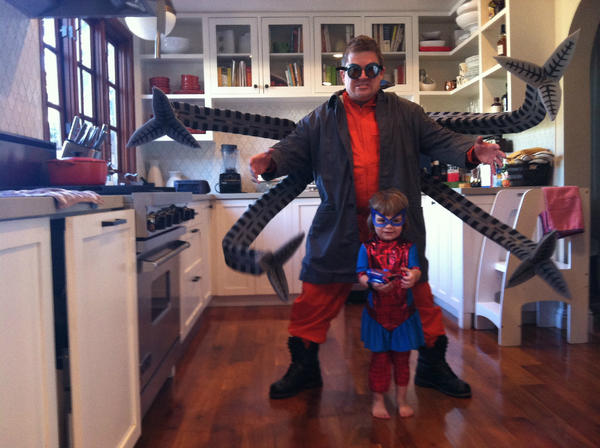 Patton Oswalt and his daughter dressed as Doc Ock and Spider-Girl for Halloween