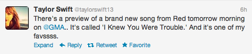 "Taylor Swift reveals next song to premiere on Good Morning America is ""I Knew You Were Trouble"""