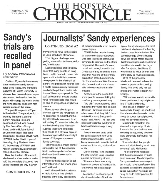 Sandy's trials are recalled in panel