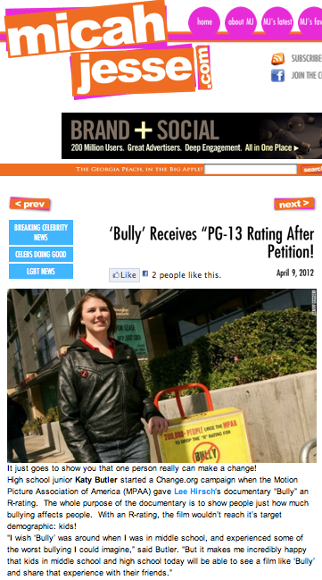 "'Bully' receives ""PG-13"" rating after petition!"