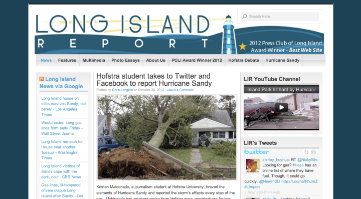 Hofstra student takes to Twitter and Facebook to report Hurricane Sandy
