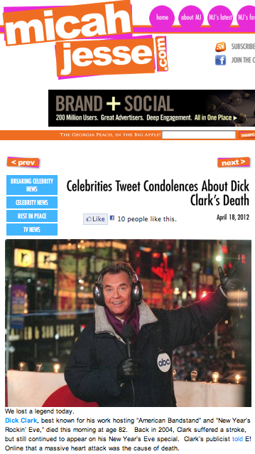 Celebrities tweet condolences about Dick Clark's death