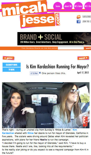 Is Kim Kardashian running for mayor?