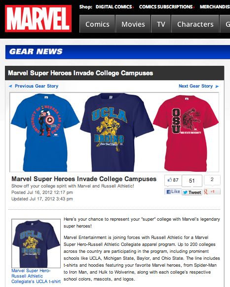 Marvel super heroes invade college campuses