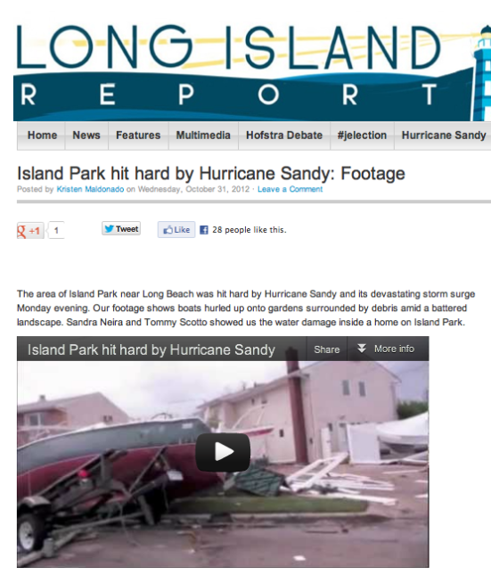 Island Park hit hard by Hurricane Sandy: Footage