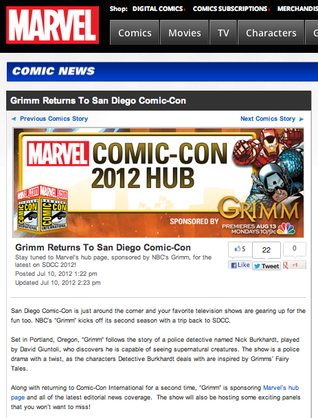 'Grimm' returns to San Diego Comic-Con