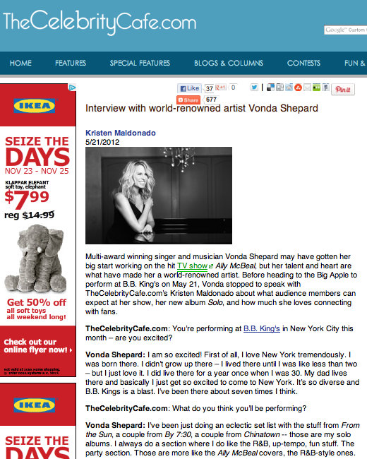 Interview with world-renowned artist Vonda Shepard