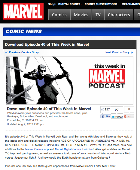 "Episode 40 of ""This Week in Marvel"""