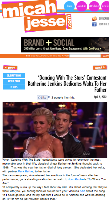 'Dancing with the Stars' contestant Katherine Jenkins dedicates waltz to her father