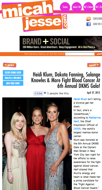 Heidi Klum, Dakota Fanning, Solange Knowles & more fight blood cancer at 6th Annual DKMS Gala!
