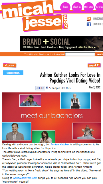 Ashton Kutcher looks for love in Popchips viral dating video!
