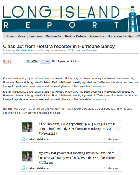 Class act from Hofstra reporter in Hurricane Sandy