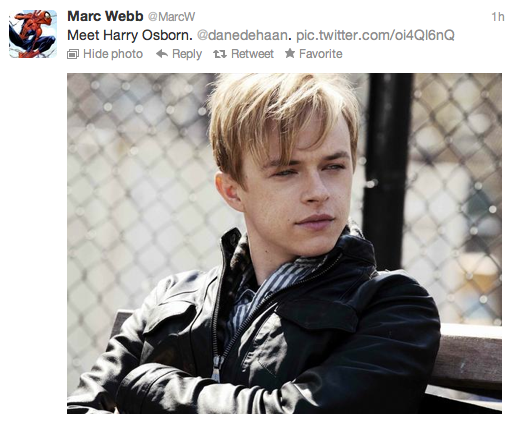 "Dane DeHaan to play Harry Obsorn in ""The Amazing Spider-Man"" sequel"