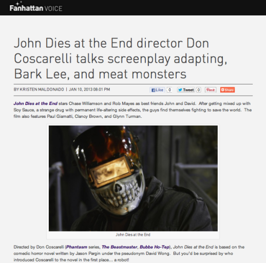 """John Dies at the End"" director Don Coscarelli talks screenplay adapting, Bark Lee, and meat monsters"