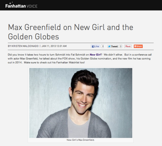 "Max Greenfield on ""New Girl"" and the Golden Globes"