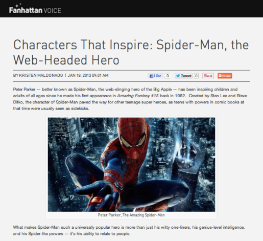 Characters That Inspire: Spider-Man, the Web-Headed Hero