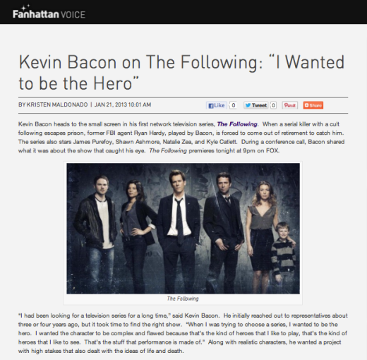 "Kevin Bacon on ""The Following:"" ""I Wanted to be the Hero"""
