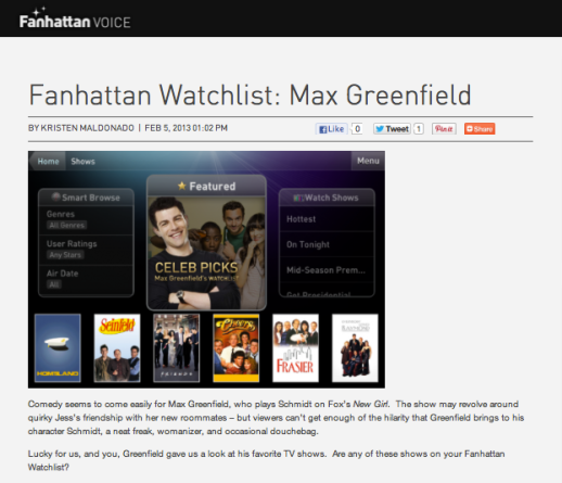 Fanhattan Watchlist: Max Greenfield