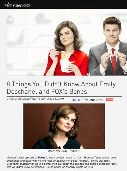 "8 Things You Didn't Know About Emily Deschanel and FOX's ""Bones"""