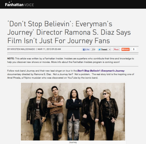 """Don't Stop Believin': Everyman's Journey"" director Ramona S. Diaz says film isn't just for Journey fans"