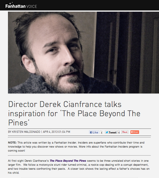 "Director Derek Cianfrance talks inspiration for ""The Place Beyond The Pines"""