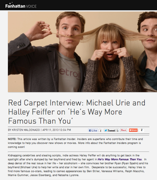 "Red Carpet Interview: Michael Urie and Halley Feiffer on ""He's Way More Famous Than You"""