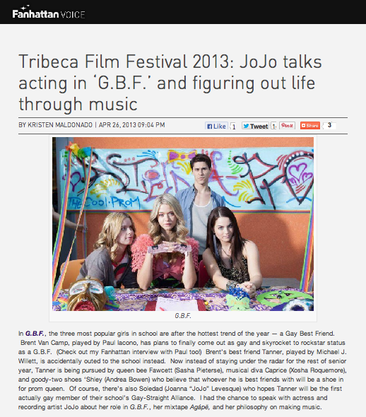 Tribeca Film Festival 2013: JoJo talks acting in 'G.B.F.' and figuring out life through music