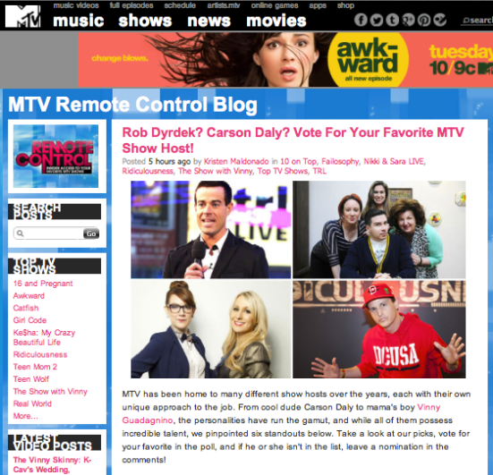Rob Dyrdek? Carson Daly? Vote For Your Favorite MTV Show Host!