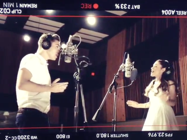 "Ariana Grande and Nathan Sykes singing ""Almost Is Never Enough"""
