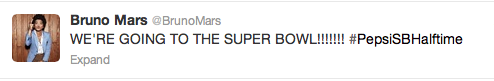 Bruno Mars Super Bowl Tweet