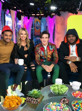 Siesta Key stars Brandon Gomes and Juliette Porter, Drake Bell, and Tee Grizzley on MTV's TRL