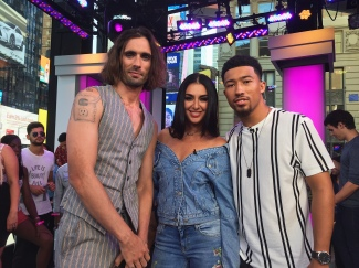 All-American Rejects' Tyson Ritter with Tamara Dhia and Lawrence K. Jackson on MTV's Summer in the City