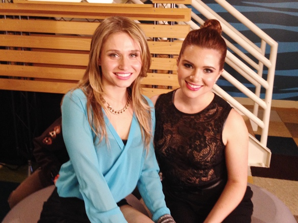 Rita Volk and Katie Stevens at a video shoot for MTV's Faking It