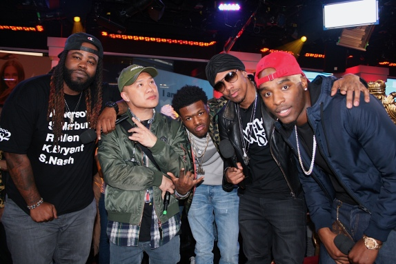Darren Brand, Timothy DeLaGhetto, DC Young Fly, Nick Cannon, and Hitman Holla on MTV's Wild 'N Out Live