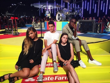 Social media stars Sarah Baska, Anthony Quintal (Lohanthony), Dana, and Rickey Thompson at the 2015 MTV Video Music Awards