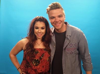 Jillian Rose Reed and Brett Davern at a video shoot for MTV's Awkward