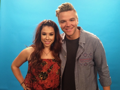 Jillian Rose Reed and Brett Davern at a video shoot for MTV's Awkward